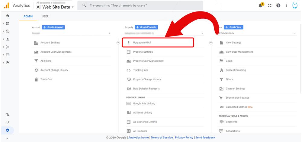 بخش مدیریت گوگل آنالیتیکس